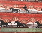 Wild West Horses Flannel Brushed Cotton Fabric Material Fat Quarter