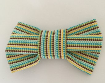Baby, Newborn, Toddler, Boys bow tie, Wedding bow tie, Ring bearer bow tie, Kids bow tie, green/yellow stripes cotton  fabric, Easter bowtie