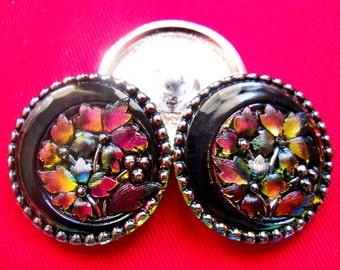Czech  Glass Buttons  3 pcs     GORGEOUS with platinum  32mm   IVA XL 030