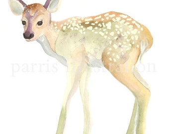 Fawn No. 2, Archival Print of original watercolor, you choose size