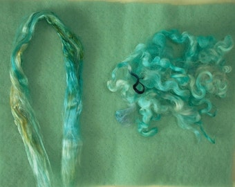 Fibers for Felting and Craft projects, Pre-felted Wool, Mulberry Silk Top and Wool Locks