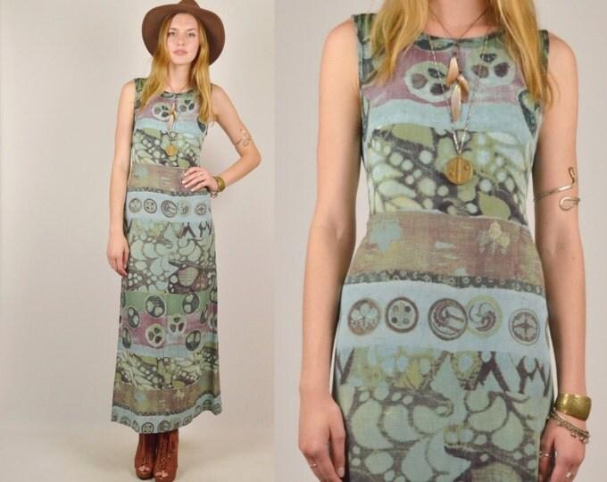 Green Blue Maxi Dress Summer Boho Hippie Vintage