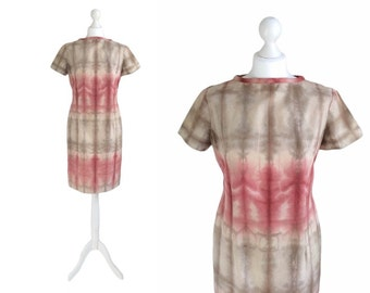Vintage Tie Dye Dress - Shift Dress - 90's Vintage Dress - Red And Taupe Ombre Fitted Dress