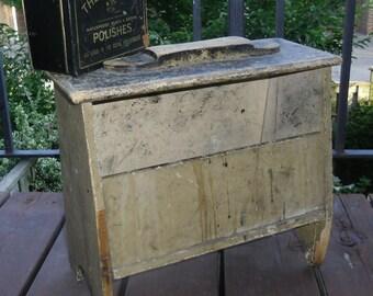 Primitive Shoe Shine Box - Handmade Shoe Shine Stand, Old Black Paint, The Nugget Polish Tin, Royal Household, Vintage Props