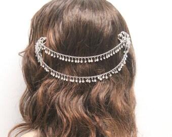 Boho headpiece,Bohemian wedding headpiece,Wedding hair chain,Bridal hair vine,Silver hair halo,Bridal headpiece,Wedding crown,Bridal halo