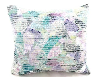 Decorator Accent Pillow - Free Shipping - Lavender Aqua Purple - Shabby Cottage Chic Pillow - Slashed Fabric Pillow - Glamper - 7TTT16