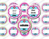 Editable Bottle Cap Images, Digital Collage Sheet, 1 inch Circles, Printable, Instant Download, Nurse RN LPN LVN Cna Ma