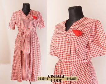 Red Gingham Cotton Button down dress  /Short sleeve Plaid chechered dress 80s Soviet vintage / Unused vintage dress / size Large Extra Large