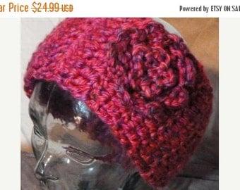 ON SALE Crochet Pink Flower Headband and Ear Warmer