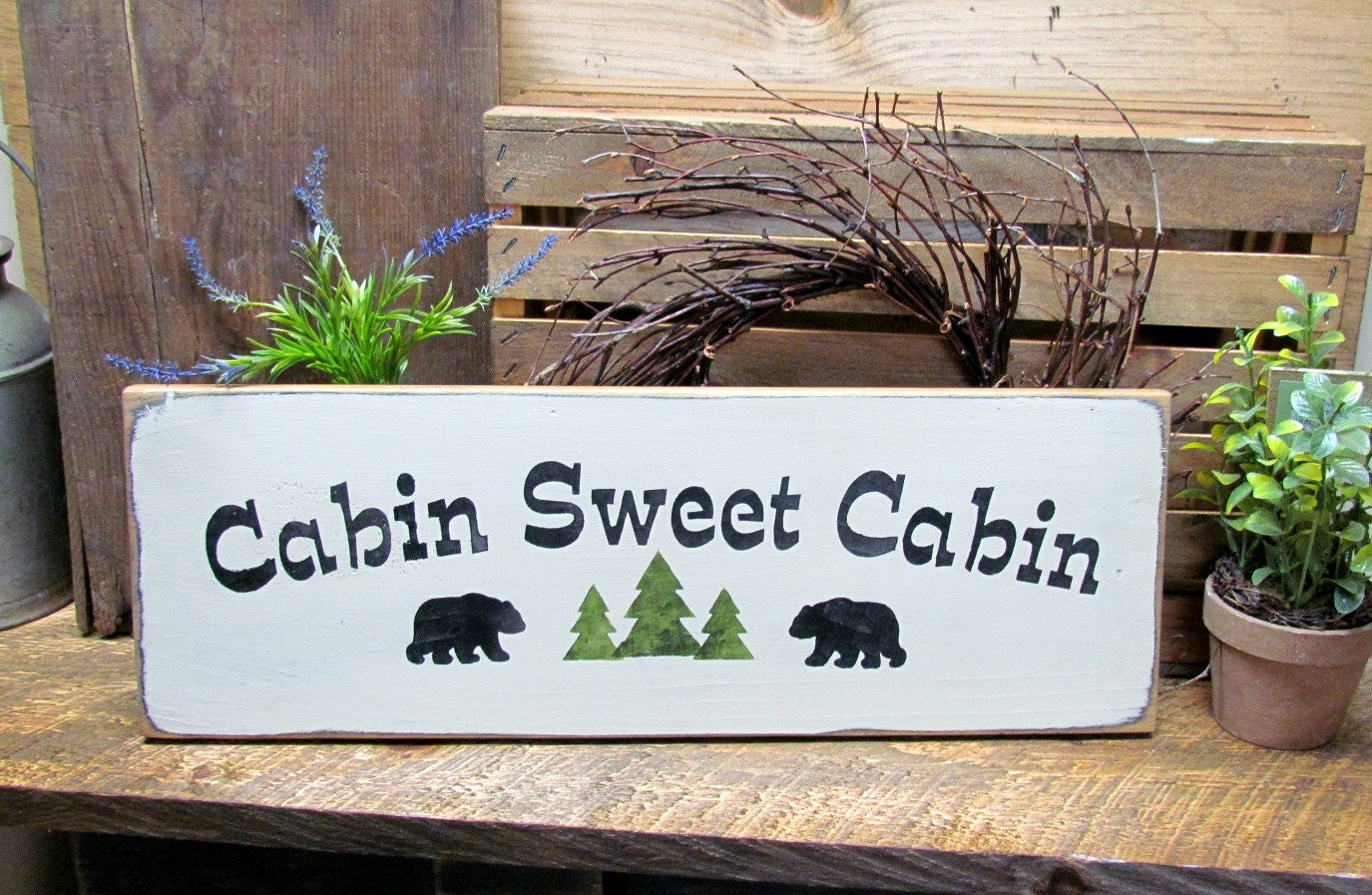 Wooden cabin sign log cabin decor cabin sweet cabin welcome for Cabin signs wood