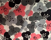 Vintage 1940s 50s PInk and Gray Cotton Fabric, 1.5 Yards