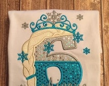 Girls custom Frozen Elsa themed birthday shirt