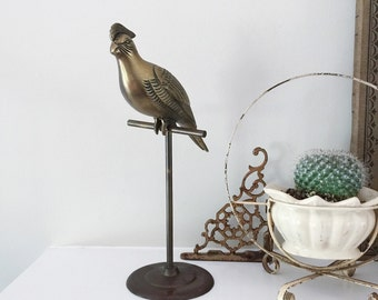 SOLD / Vintage Mid Century Brass Bird on Stand Statue for Home Decor or Prop Display