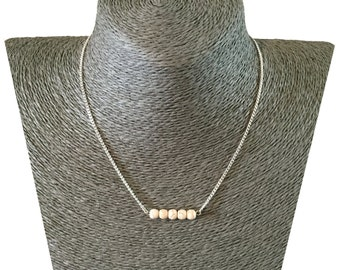 HOWLITE Minimalistic 5 Bead Row Charm Pendant NECKLACE on Silverplated Chain