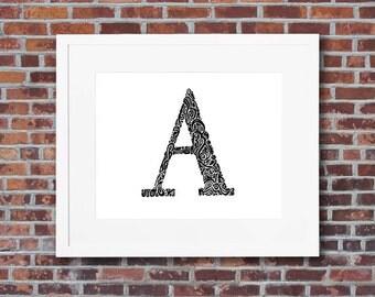 Custom letter art - hand drawn monogram art - black white ink initial drawing - nursery wall letter decor - Multiple sizes/FREE SHIPPING*