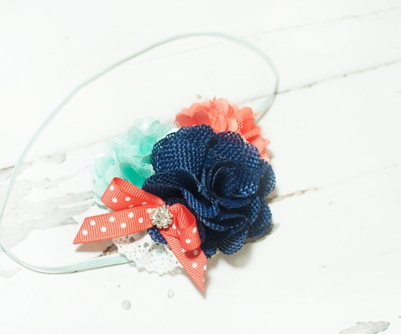 Under the Sea - headband in coral, navy blue and aqua (RTS)
