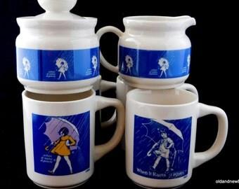Morton Salt Mugs, Creamer and Sugar Bowl, Coffee Mugs, Blue and White