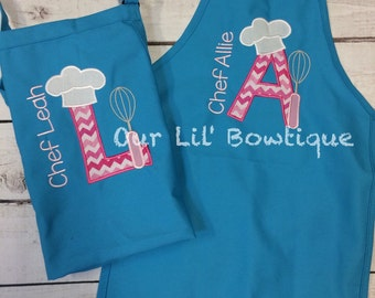 Personalized Chef Letter Apron - Personalized Apron - Personalized Kids Apron - Girl - Boy - Toddler - Baby - Chef Birthday
