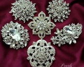 6 pc Elegant Ex-Large CRYSTAL PEARL Rhinestone SILVER Brooch Brooches Wedding Bouquet
