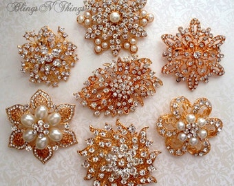7 pc. Ex-large GOLD / Rose Gold Finish Crystal Pearl Rhinestone Brooches Wedding Brooch Bouquet Wedding Invitations Dress Sash