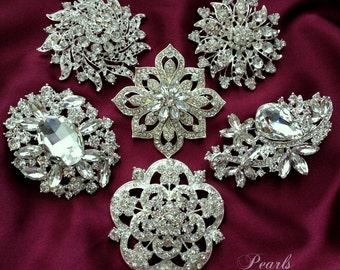 6 pc Elegant Ex-Large CRYSTAL PEARL Rhinestone SILVER Brooch Brooches Wedding Bouquet