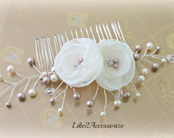 Bridal Hair Comb Bridal Hair Accessories Bridal Hairpieces Flower Pearl Crystals Hair Comb Ivory Flower Hair Comb Veil Attachment