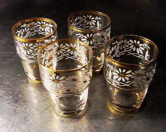 SHOT GLASSES Dessert Liqour Vintage Glassware  Set 4 Hand Blown