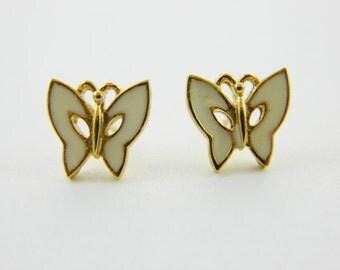 White Enamel Butterfly Earrings