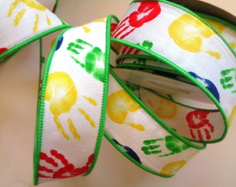 "Hand Print Wired Cotton Ribbon Trim, Multi  / Green, 1 3/8"" inch wide, 1 yard For Home Decor, Gift Basket, Scrapbook, Children Crafts"