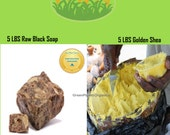 Combo: 5 LBS Golden Shea Butter + 5 LBS Pure African Black Soap (Free Of Fragrance And Additives) Total 10 LBS