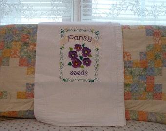 Pansy Seeds  Flour Sack Dish Towel