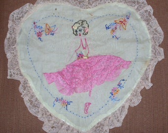 Boudoir Heart Shape Pillow Cover is Pale Green with a Ballet Dancer in Embroidery and Lace 1930's -1940's