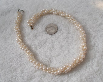 Vintage Twisted Strands Faux Pearl Necklace-N1665