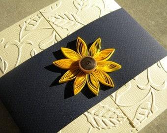 Sunflower and navy blue wedding invitation / Navy blue wedding invitation / Sunflower wedding invitation / Sunflower wedding invite