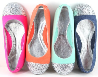 Kids shoes - Sparkle- Orange, Sea Blue, Fushia, and Denim Ballet flats  with Glitter Captoe