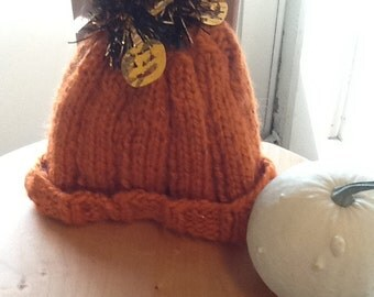 Little Punkin, baby hat, 0-6 mos., soft, machine washable, handknit