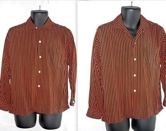 Vintage 40s 50s loop top shirt / mens rayon button up / /long sleeve stripe striped / 1940s Lindy Swing / 1950s rockabilly ..  M L 16 16.5