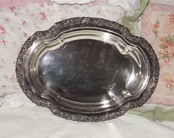 Beautiful Flowered Oval Silver Dish 13 in Long /Not Included in Coupon Discount Sale