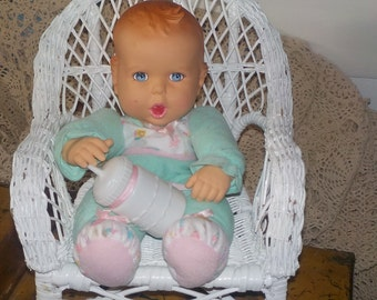 1996 Gerber Green Cloth Baby with Bottle :)