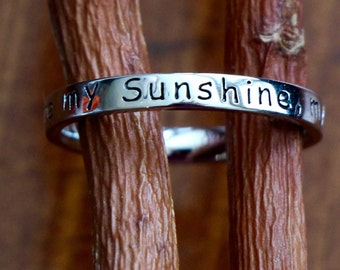 You are my Sunshine Ring- Stackable Ring- Mom Ring- Gift for Daughter- Mother's Day- Sterling Silver