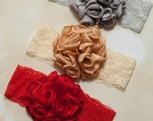 Holiday Beautiful Flower Infant Toddler Lace Bow Headband