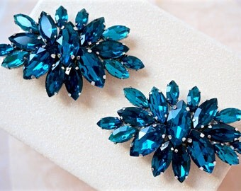 Blue Rhinestone Shoe Clips,Blue Bridal Shoe Clips,Blue Wedding Shoe Clips,Something Blue,Blue Shoe Jewelry,Blue Crystal Shoe Clips