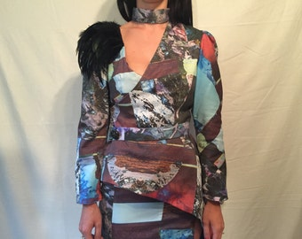 Avant garde digital print asymmetrical suit w/ feather shoulder