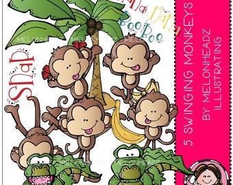 5 Swinging Monkeys clip art