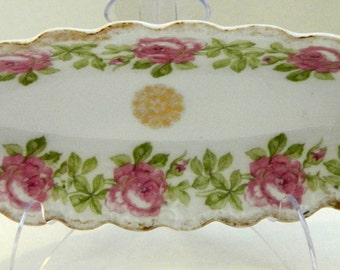 Floral dish, roses, gold edge, Imperial, Limoges, France, Celery Dish, Very Good Vintage Condition