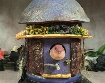 COTTAGE FAIRY/BIRDHOUSE -Wheel thrown, hand altered and sculpted. A friendly little house to keep your winged friends safe and sound. BHC13