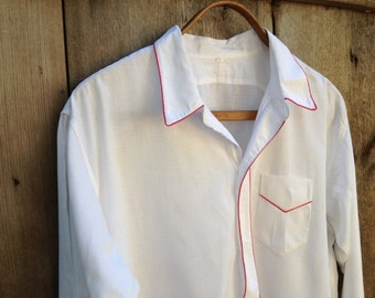 French Vintage White Cotton Night Shirt ~ Nightgown ~ Button Down Smock ~ Red Trim