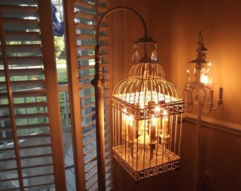 Chandelier floor Lamp ,vintage chandelier bird cage light  shabby chic chandelier, chippy,NOSTALGIC , French country,