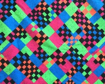 Radical Vintage Graphic 90s Neon Fabric Lime Green Hot Pink Blue Black Checkerboard Print Rad Retro Fluorescent Cute Bright Fun!