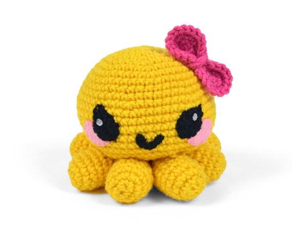 Octopus Amigurumi Plush : Octopus Crochet Plush Amigurumi in Yellow with Bow